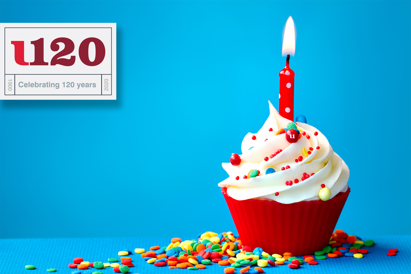 Celebrating 120 Years of Solutions at First United, image of cupcake with candle