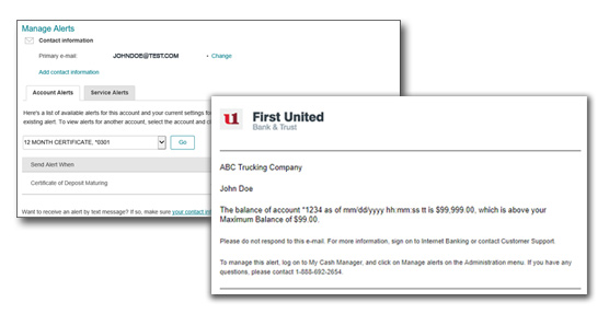 Personal Online & mobile Alert Sample