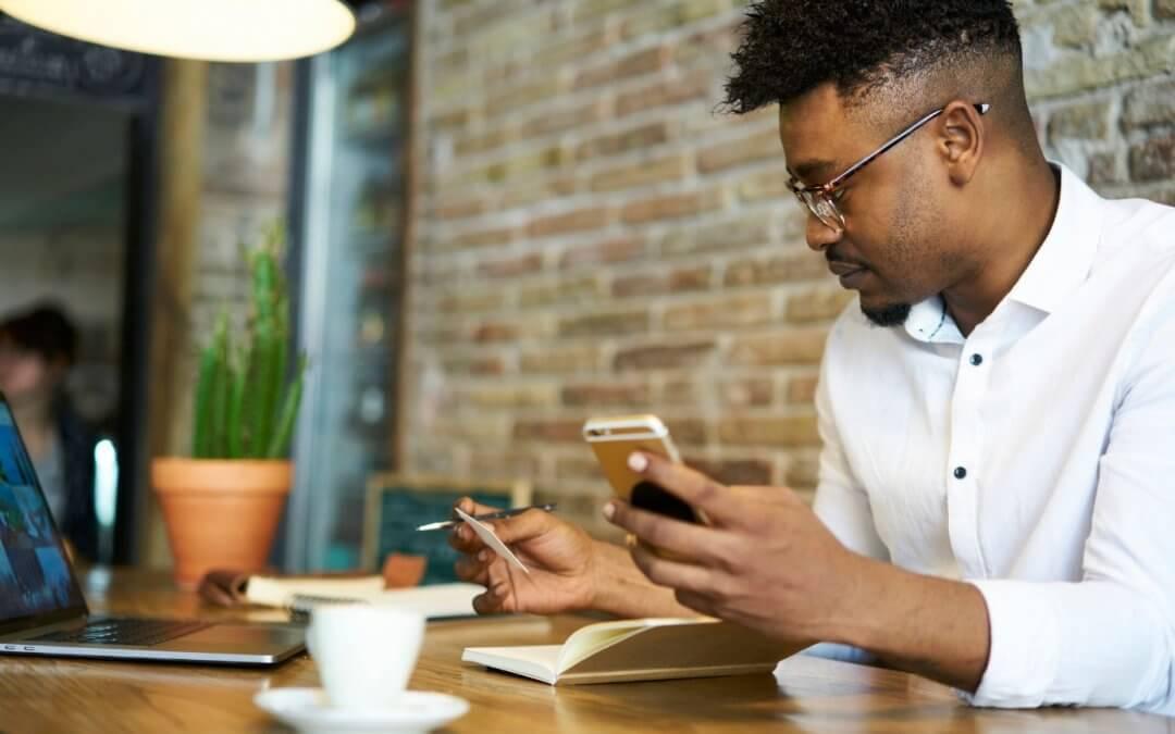 Man using mobile banking