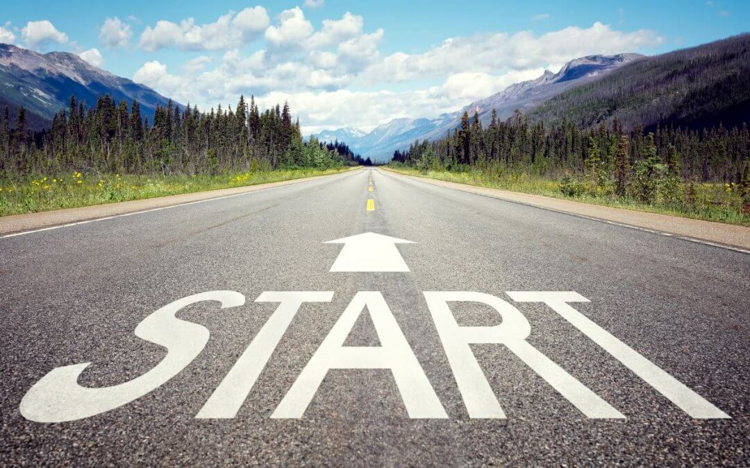Image of a road with the word start on it